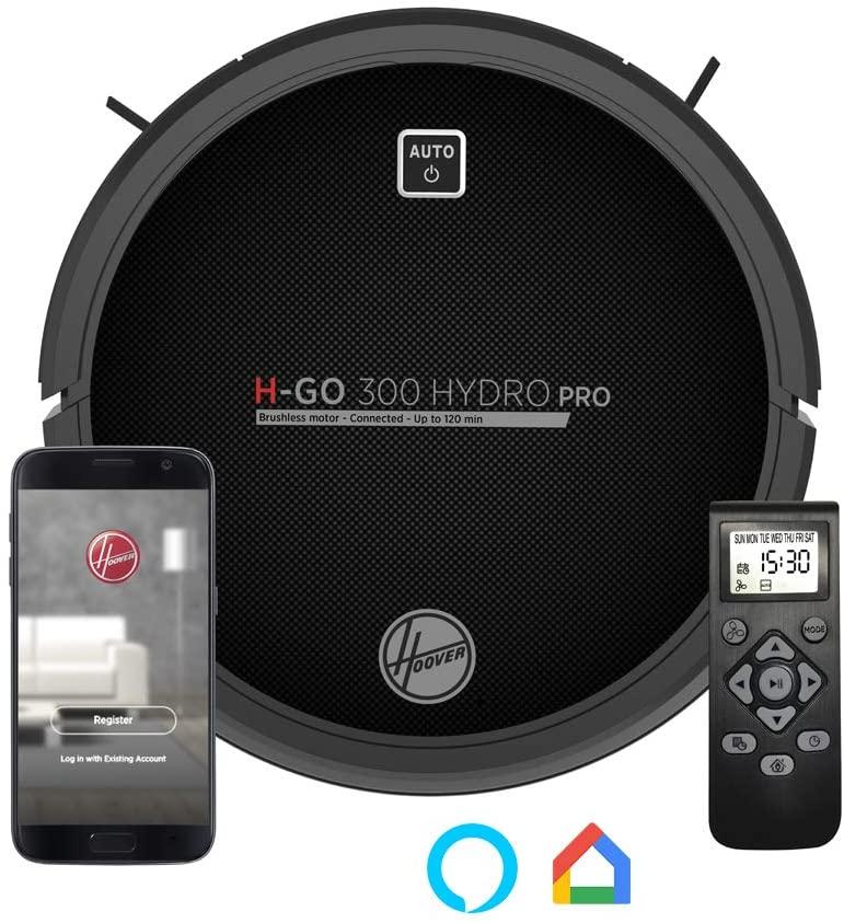 Hoover HGO330HC Hydro Pro - Robot Aspirador, Aspira, Barre, Friega y Pasa la Mopa, 2 Depósitos, Wi-Fi, Conexión Alexa, Autonomía 120mins, Mando y Base de Carga, Sensor Anticaída y Antichoque