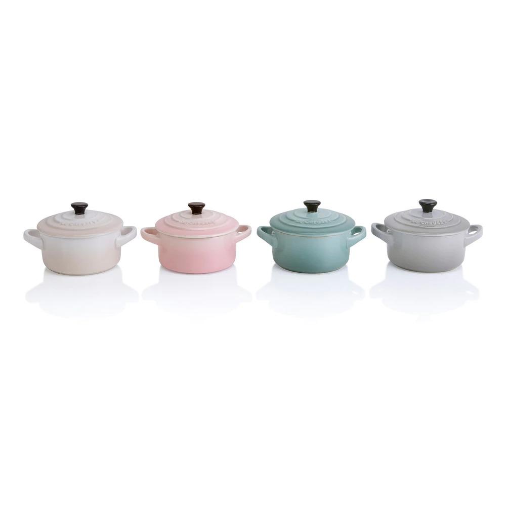 Set de cuatro mini cocottes Calm Collection de Le Creuset