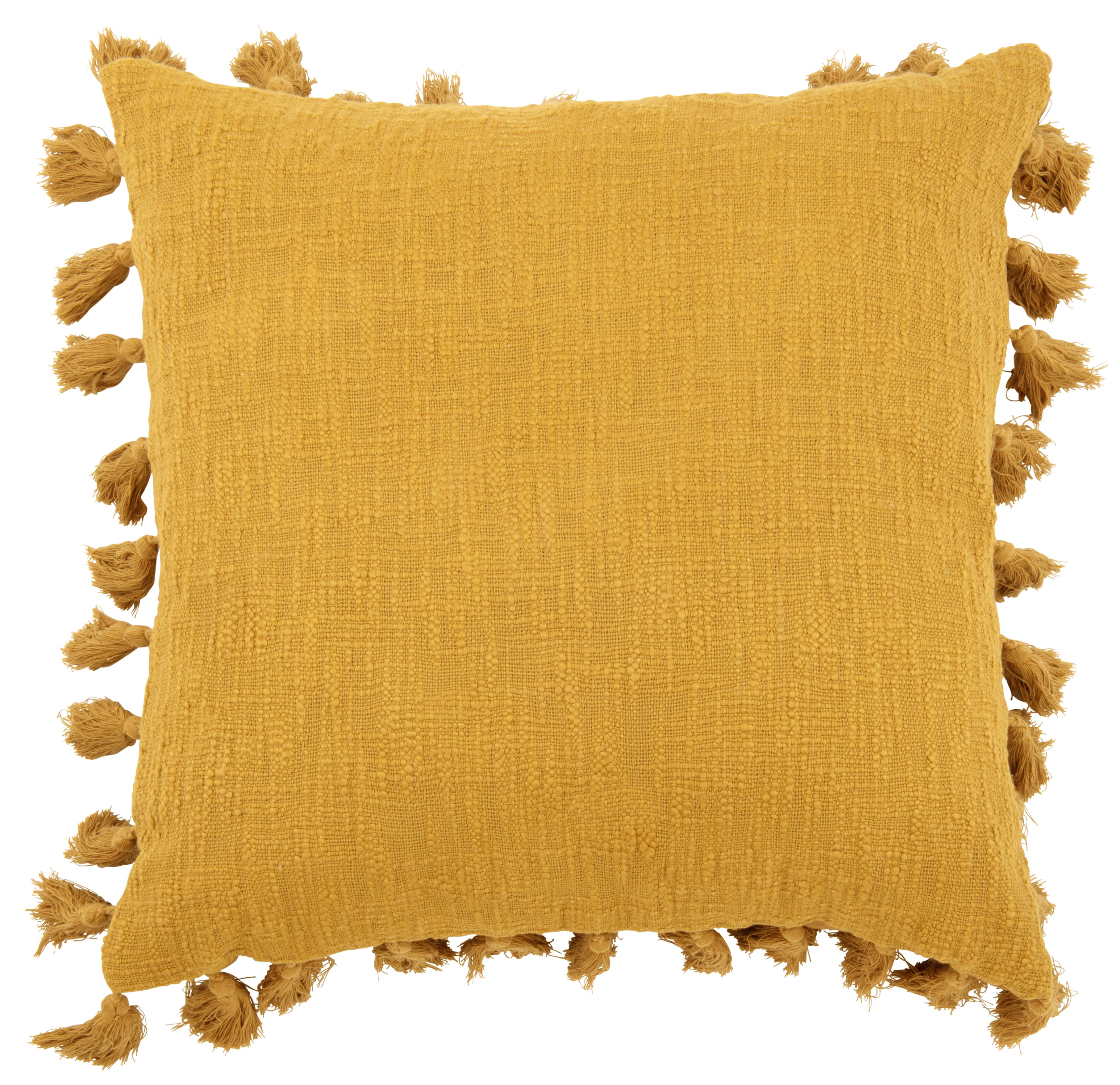 Cojín con pompones de algodón amarillo 50x50