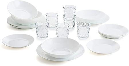 Vajilla Blanca Completa Para 6 Personas 18 Set De 6 Vasos De Vidrio