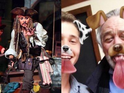 Johnny Depp también es Jack Sparrow fuera del cine y Robert de Niro prueba Snapchat