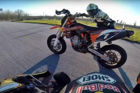 Supermotard contra kart, un pique con sorpresa