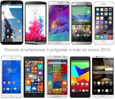 Smartphones de 5 pulgadas o más: comparamos sus precios en enero con operadores y libres