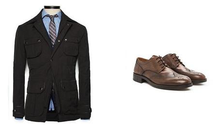 chaqueta y brogues marrones