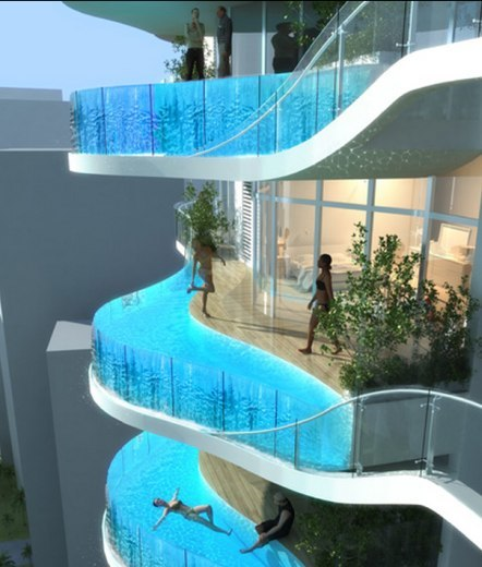 Una piscina en cada balcón de la futura torre Bandra Ohm en Bombay