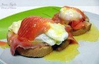 Huevos a la benedictina con salmón. Receta