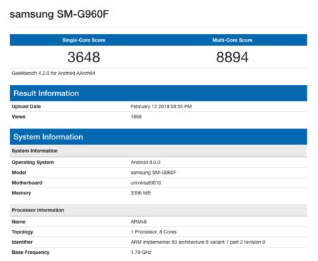 El Samsung Galaxy S9 pasando las pruebas con el Exynos 9810