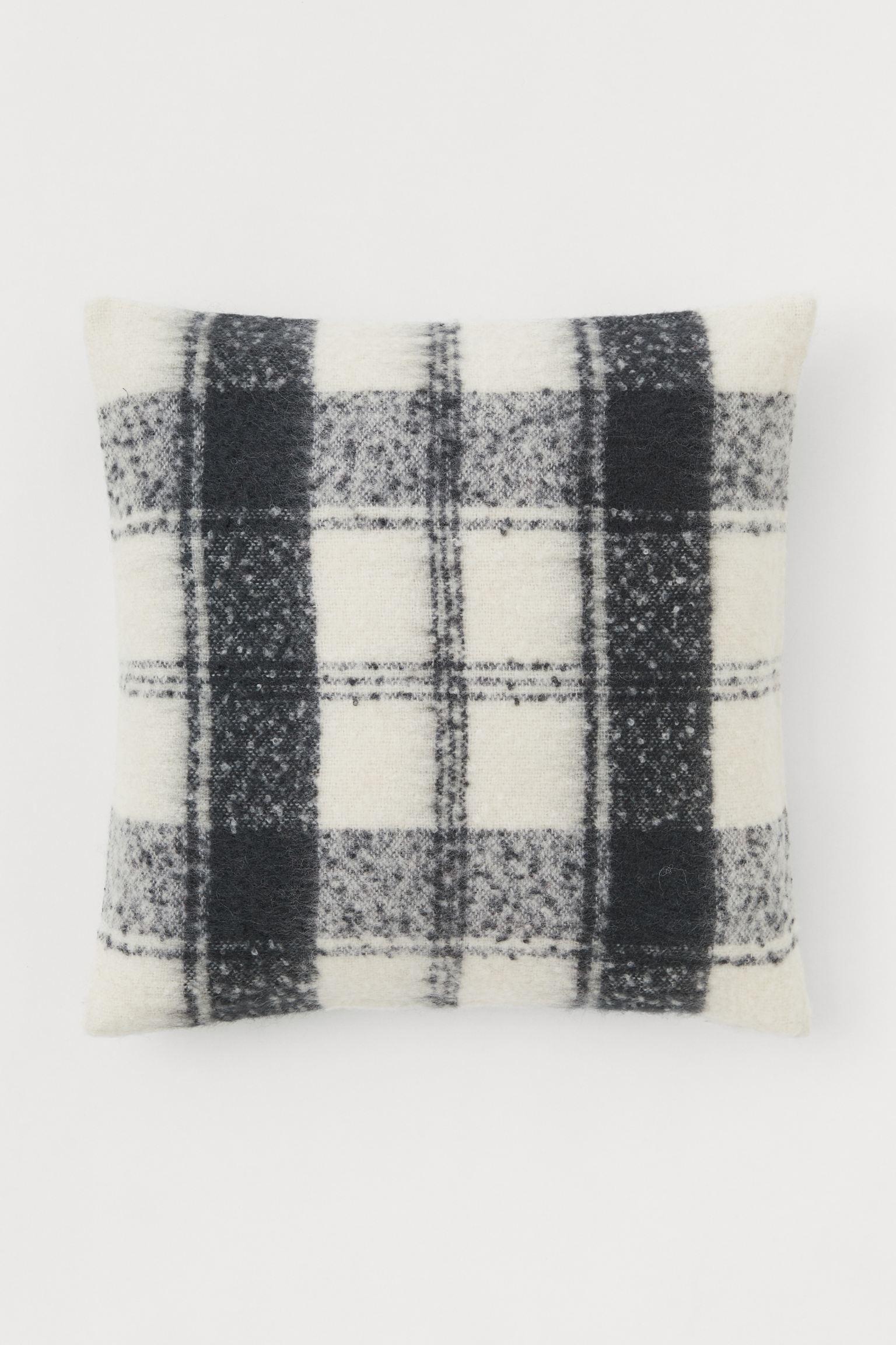 Funda de cojín con lana - Gris oscuro/Blanco - 50x50 cm