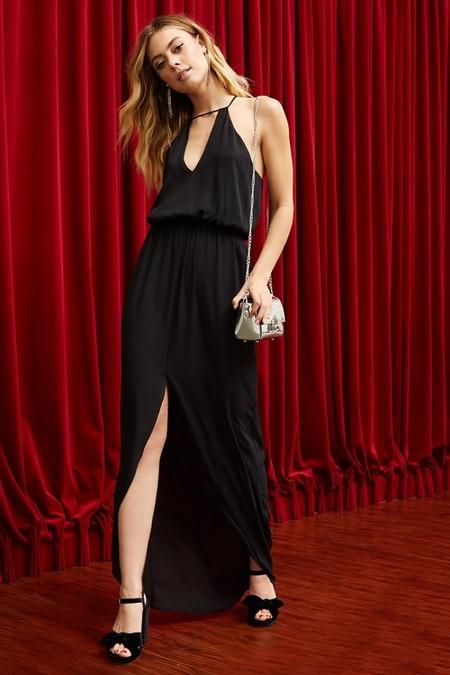 Pretty Rory Crepe Maxi Dress Black
