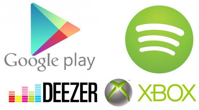 Google Play, Spotify, Deezer, Xbox