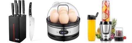 3 cupones de descuento para la cocina disponibles en Amazon: sets de cuchillos, cocedores de huevos y batidoras