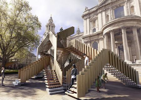 "Escaleras de inspiración ""Escher"" frente a la catedral de San Pablo en Londres"