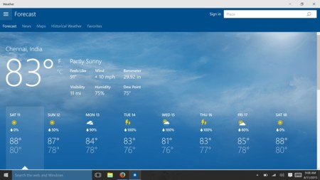 Windows 10 Weather App