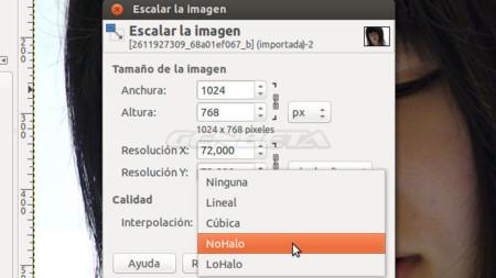 GIMP 2.9 herramientas de escalado