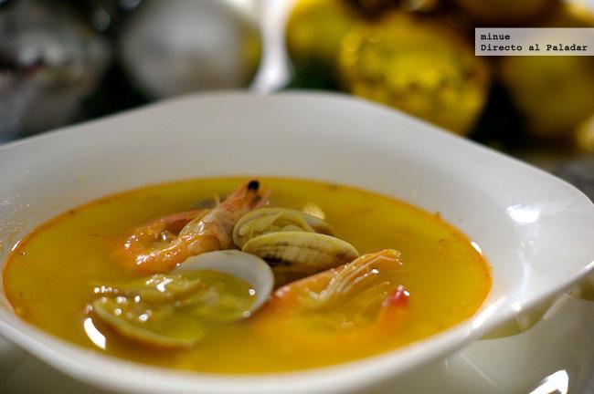 Sopa de marisco - receta de Navidad - presentación
