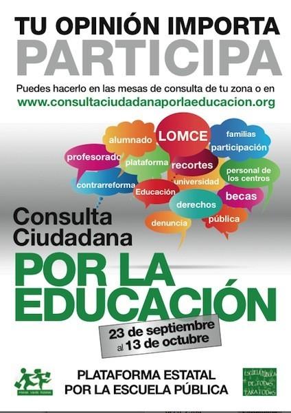 La consulta ciudadana recogerá hasta el 17 de octubre la opinión de los ciudadanos sobre la política educativa del Gobierno