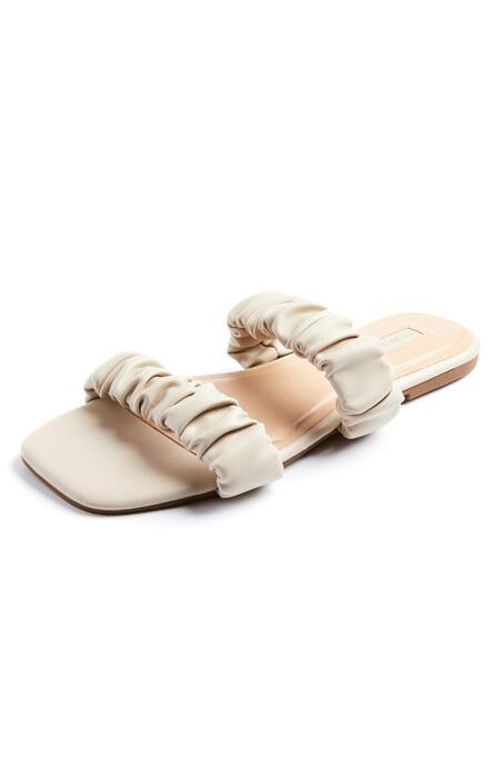 Primark 3089602 Ecru Double Strap Scrunchy Sandals 8 10 11 Pln43 50ce2