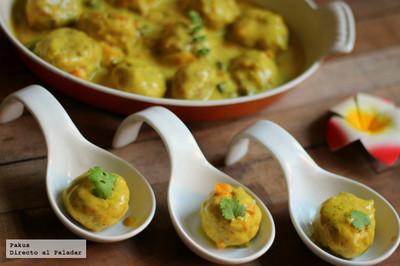 Receta de albóndigas de pollo al curry