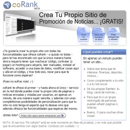 CoRank te facilita crear tu propio sitio