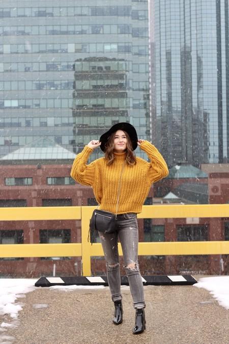 jersey mostaza mujer
