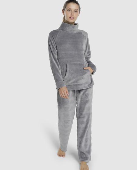 Pijama completo de mujer en gris