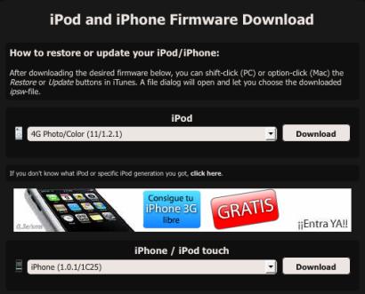 Encuentra cualquier versión de firmware para iPods / iPhones