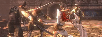 Jugando a la demo de Heavenly Sword