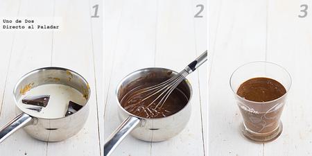 Crema ligera de chocolate y turrón. Receta de Navidad paso a paso