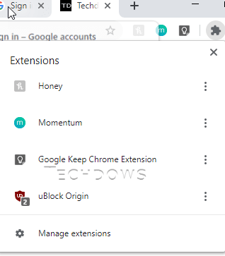 Chrome Native Extensions Menu