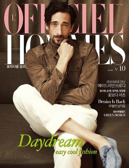 Adrien Brody en la portada de L'Officiel Hommes Corea