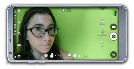 LG G6, interfaz de cámara frontal