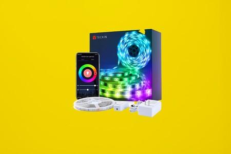 Esta tira LED RGB conectada de 5 metros de TECKIN funciona con Alexa y Google Assistant y está rebajadísima a 15 euros en Amazon