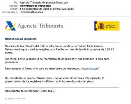 Phishing en nombre de la Agencia Tributaria
