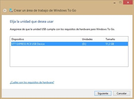 Seleccion unidad Windows To Go