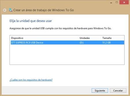 Seleccion unidad Windows To Go
