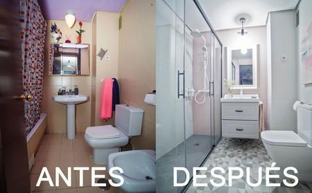 Antes y Después de un baño sin reformas que apuesta por el gris y el rosa para su cambio radical