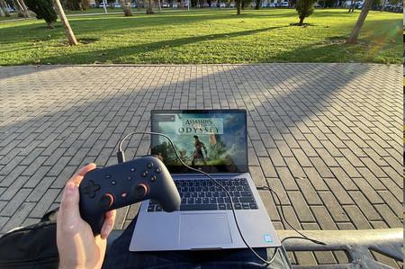Jugando a Google Stadia en la calle