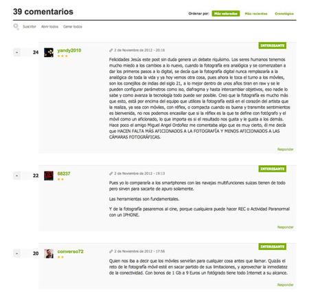 Nueva vista comentarios en Xataka Foto