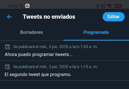 Twitter Programación Tweets