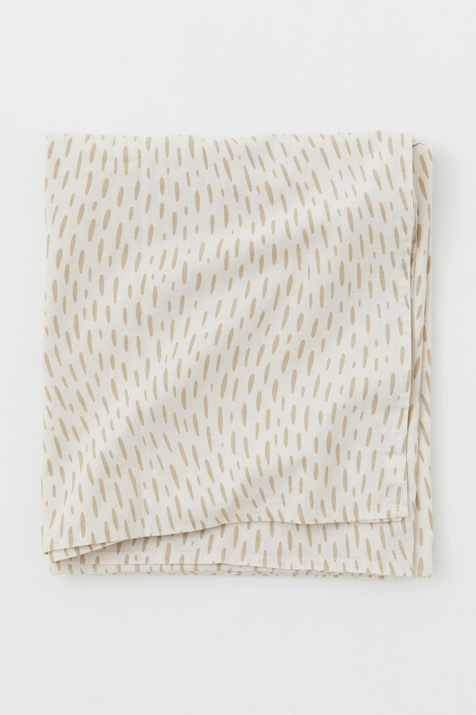 Mantel estampado de algodón color blanco natural y beige de 1,40 x 1.80