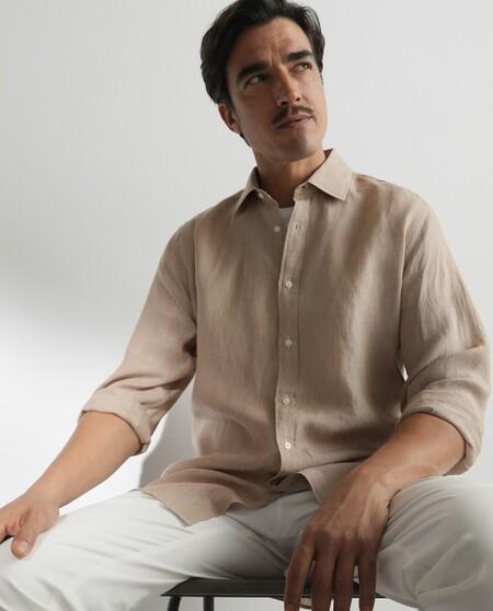 Camisa Sport De Lino De Hombre Classic Lisa Color Tostado