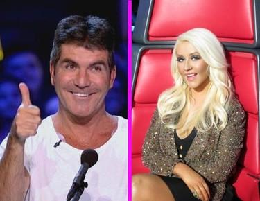 Christina Aguilera lee la cartilla a Simon Cowell, que no es santo de su devoción