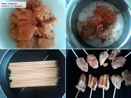 Preparación brochetas de pollo