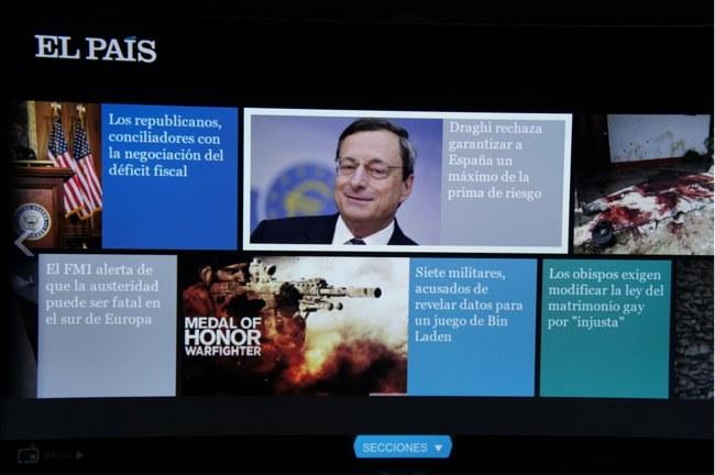 Así se ven las noticias en la aplicación de El País en un Samsung Smart TV