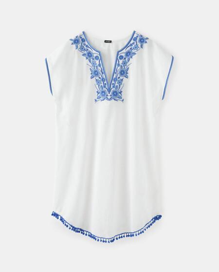 Cafta N El Corte Ingla C S De Algoda3n En Blanco Con Bordado Azul