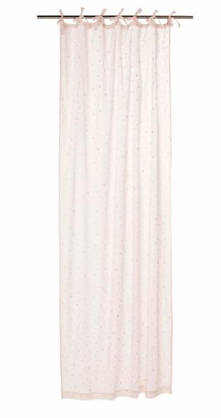 Cortina de lazos de algodón rosa con estampado de estrellas 102x250 - la unidad
