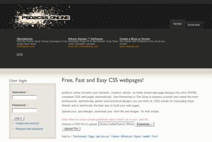 PSD2CSS Online, convierte el PSD de tu diseño web a contenido web