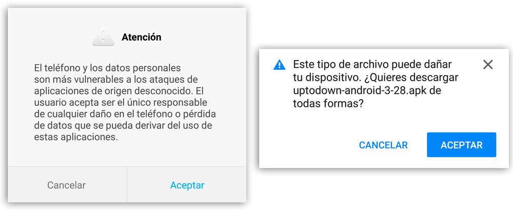 Origenes Desconocidos advertencias android