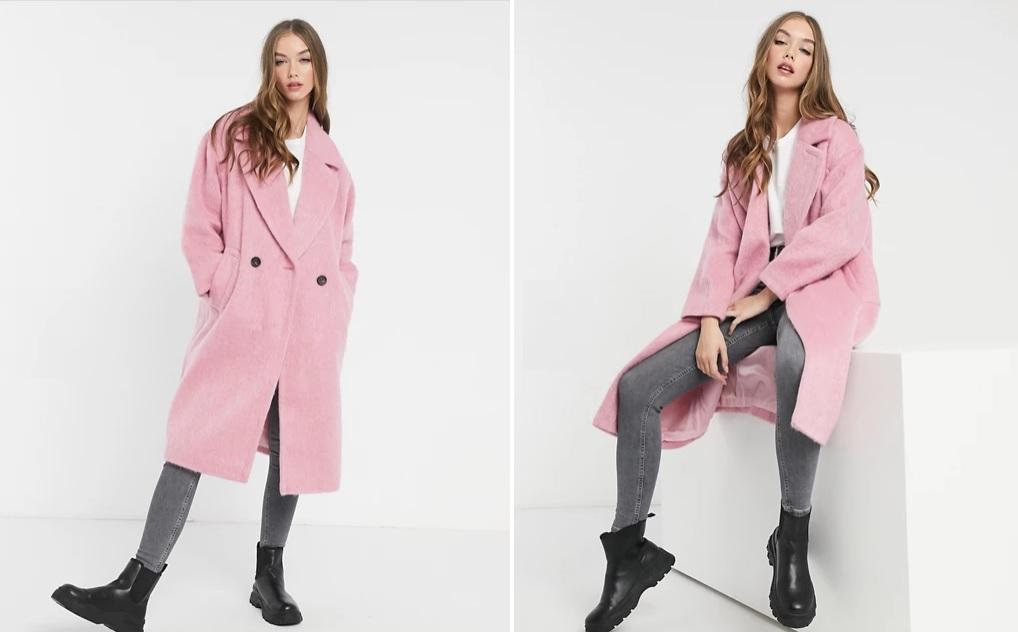 Abrigo rosa masculino con solapas
