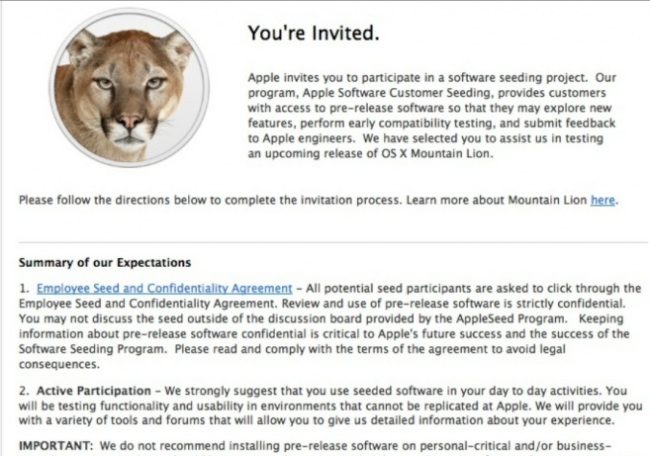 Software seeding project Mountain Lion OS X1.8